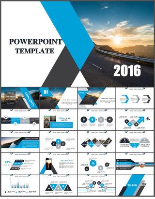 时尚简洁商务风蓝色PPT模板