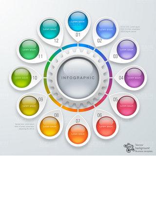 多个元素时尚信息科技图表设计矢量素材