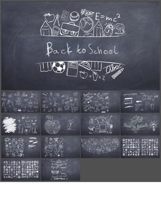 毕业季粉笔黑板手绘学校教学PPT图标(1)