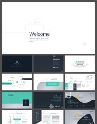 欧美风创意人物剪影设计商务PPT模板