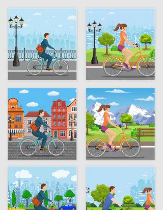 矢量卡通都市单车自行车风景插图