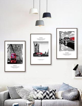 摩登城市黑白艺术标志建筑装饰画