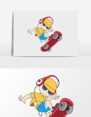 手绘卡通滑板男孩