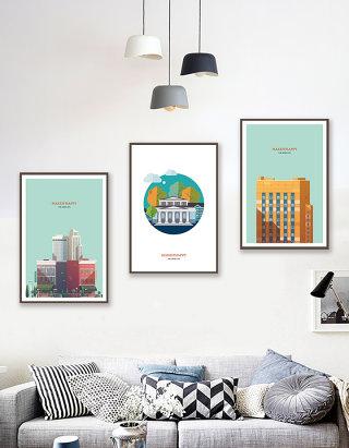 城市建筑大楼三联装饰画