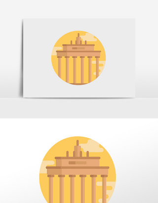 扁平城市风景勃兰登堡门手绘元素插画