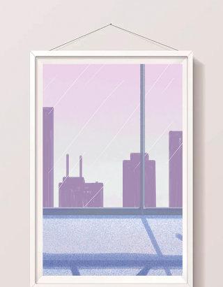 卡通扁平紫色窗外城市风景