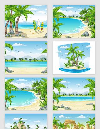 矢量卡通沙滩海边场景插图