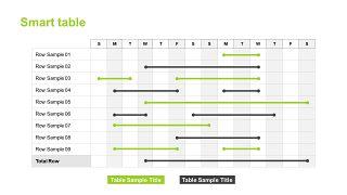 绿色甘特图PPT图表-1
