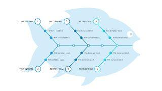 蓝色鱼骨图PPT图表-10
