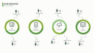 绿色简约线条PPT图表-11