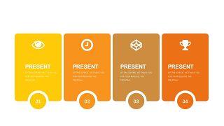 橙色系并列关系PPT图表-4