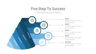 浅蓝色五项并列关系PPT图表-14
