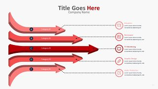 红色柱状图PPT图表-11