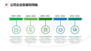 简约公司企业发展时间轴图表设计PPT模板-15
