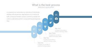浅蓝色五项并列关系PPT图表-8