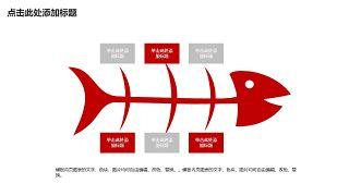 红色鱼骨图和甘特图PPT图表-12