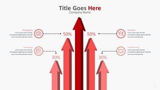 红色柱状图PPT图表-12