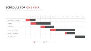 红色鱼骨图和甘特图PPT图表-29