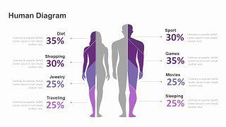 紫色商务对比关系PPT图表-4