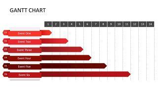 红色鱼骨图和甘特图PPT图表-28