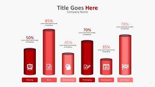 红色柱状图PPT图表-22