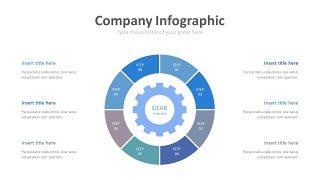 蓝色齿轮商务PPT图表-11