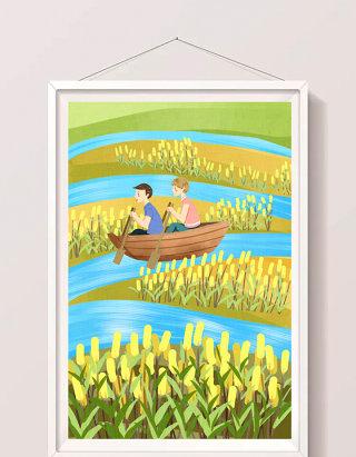 清新黄色孩子们暑假水面游玩划船插画