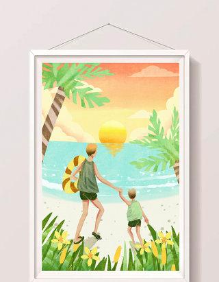 清新卡通父亲节父子海边游玩插画