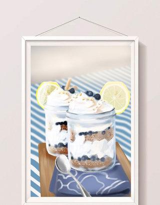 清新写实手绘甜品冰淇淋插画