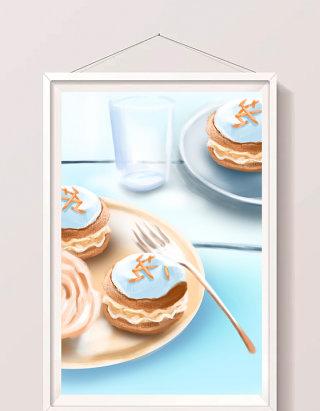 清新水彩手绘下午茶曲奇甜点插画