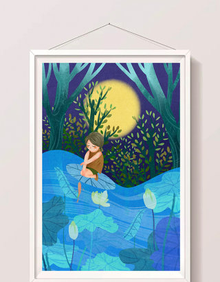 清新唯美发光夏天夜晚的荷塘和小女孩插画