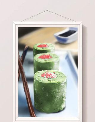 清新水彩手绘和风美食日式抹茶蛋糕插画