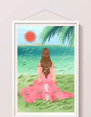 清新唯美女性海边度夏度假插画