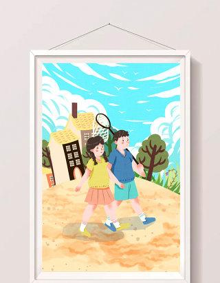 清新可爱放暑假孩子们郊外游玩插画