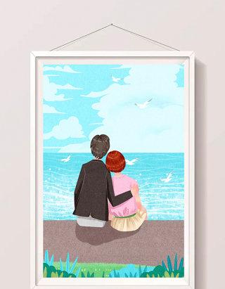清新蓝色情人节情侣海边约会插画