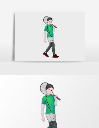 水彩手绘打网球的男孩
