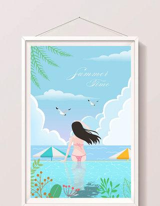 唯美清新暑期少女比基尼海边度假风景插画