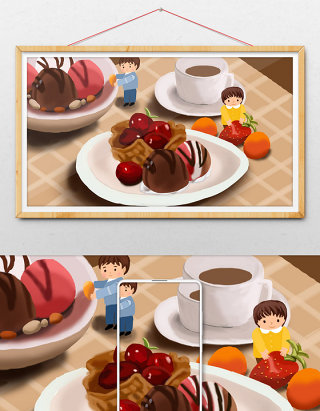 原创美味下午茶甜点插画设计