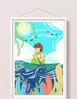 可爱女孩暑天水面划船插画