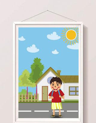 可爱男孩假期背包出游暑假生活插画