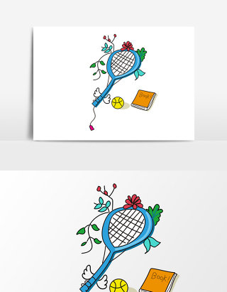 羽毛球拍网球元素