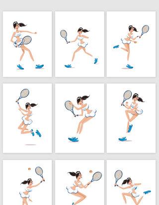 手绘卡通打网球妹子设计元素