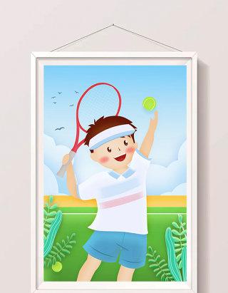 动感清新暑假男孩打网球插画设计