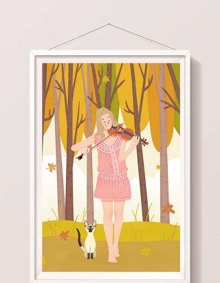 唯美清新秋天丛林秋意啦小提琴女孩插画