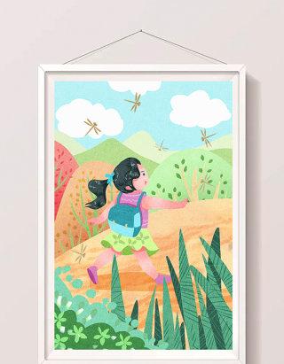 清新可爱女孩放暑假郊游插画