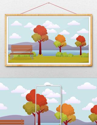 秋天户外风景插画背景