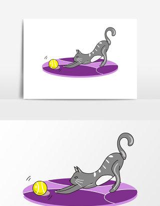 可爱猫咪网球元素