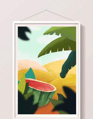 唯美清新野餐西瓜创意设计海报手绘插画背景