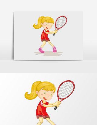 卡通矢量打网球女孩