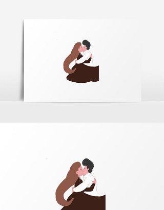 元素浪漫人物情侣插画